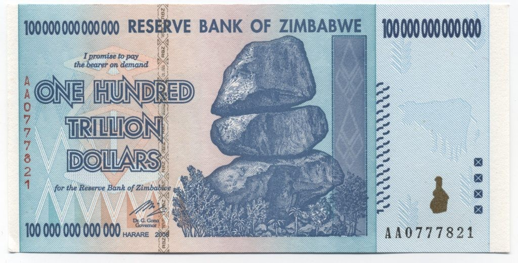 zimbabwe 100 trillion dollar bill obverse